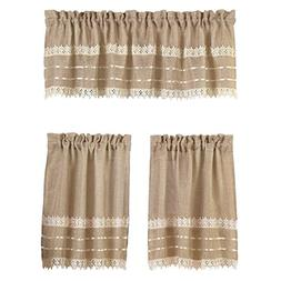 Country Style Burlap and Crochet Lace Kitchen Cafe Tier and