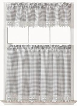 GoodGram Country Chic Plaid & Macrame Kitchen Curtain Tier &