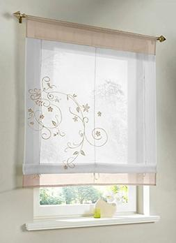 Uphome 1pcs Country Style Embroidered Flower Voile Roman Cur