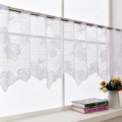 Country Embroidered Kitchen Cafe Curtain Window Sheer Voile