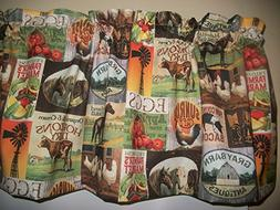 Country Farm Kitchen Cow Chicken Apples Pigs Horse fabric cu