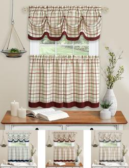 Country Farmhouse Plaid 3 Pc Tattersall Cafe Kitchen Curtain