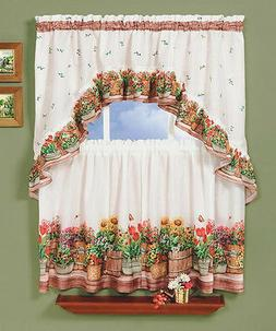 Country Garden Complete Kitchen Curtain Tier and Swag Set -