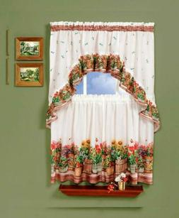 Achim Home Furnishings Country Garden Tier and Swag Set, 57-