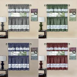 Country Gingham Check Live Laugh Love 3-Piece Cafe Plaid Kit