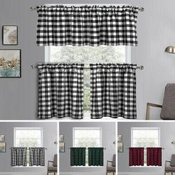 Country Gingham Checkered Plaid Window Curtain Valance / Tie