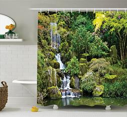 Ambesonne Country Home Decor Shower Curtain Set, Pond in Asi