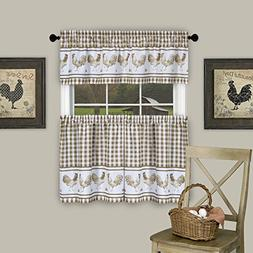 GoodGram Country Home Plaid Rooster Kitchen Curtain Tier & V