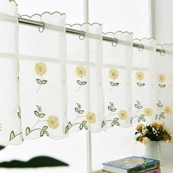 Country Kitchen Curtain Daisy Embroidery Cafe Curtain Valanc