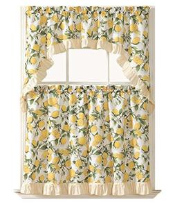 GoodGram Country Lemon Fest 3 Pc. Kitchen Curtain Tier & Swa