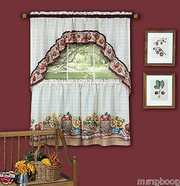 Country Market Complete Kitchen Curtain Tier & Swag Set - As