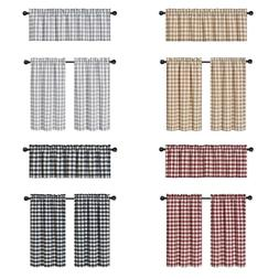 Country Plaid Gingham 3 Pc Kitchen Curtain Tier & Valance Se