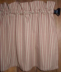 Country Red and Tan Homespun Ticking Valance Country Candy C