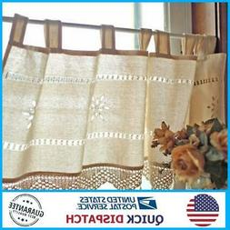 Country Style French Cotton Linen Embroidery Cafe Curtain Ho