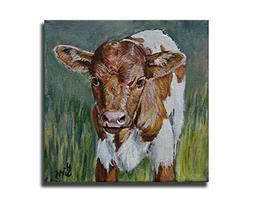 Cow art print, Baby Texas Longhorn giclee farmhouse decor or