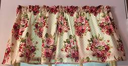 Cranberry Shabby Chic Cottage Roses and Dots Cotton Window C