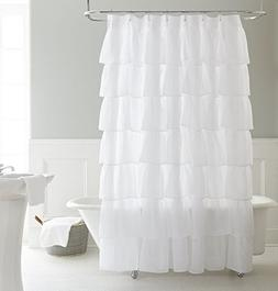Chezmoi Collection Crushed Voile Sheer Shabby Chic Ruffle Sh