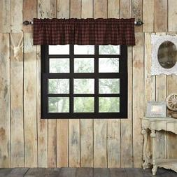 Cumberland Cafe Kitchen Curtains VHC Rustic Valance Red Blac