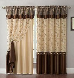 Curtain Set 1 Panel Drape Backing Valance Brown Window Livin