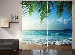 Ocean Curtains 2 Panel Set by Ambesonne, Palms Trees Tropica