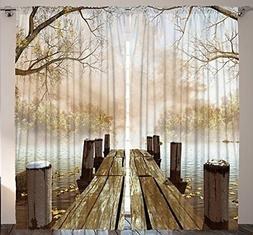 Ambesonne Curtains for Living Room by, Fall Wooden Bridge Cu