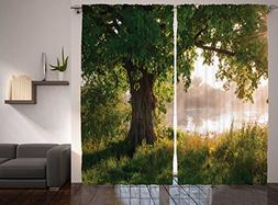 Ambesonne Nature Curtains Oak Tree Decor by, Mystic Landscap