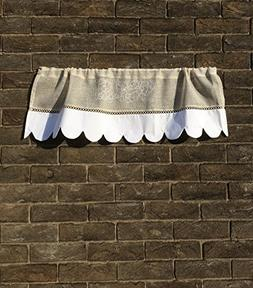 Custom Grapevine Valance Curtain Sheer Natural Linen Scallop