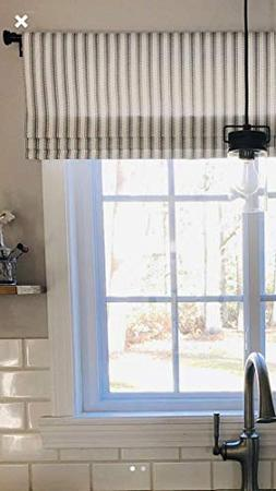 Faux Roman Shade Valance Custom Made in Farmhouse Navy & Whi