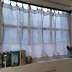 Custom Personalized Sheer French Linen Scalloped Kitchen Win