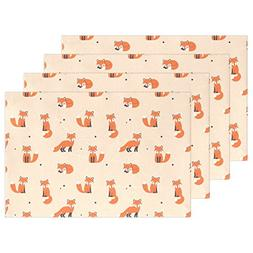 "WOZO Cute Cartoon Fox Placemat Table Mat, Polka Dot 12"" x 18"