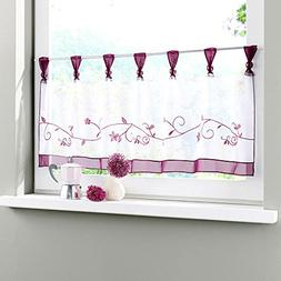 Uphome 1pcs Cute Embroidered Floral Window Tier Curtain - Ki
