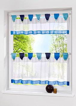 Uphome 1pcs Cute Stitching Color White Cafe Window Tier Curt