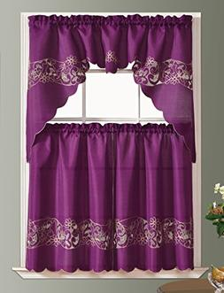 CUTWORK FLORAL kitchen curtain set. CHAIN EMBROIDERY on line