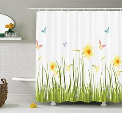 Ambesonne Daffodil Decor Collection, Daffodil Field with But
