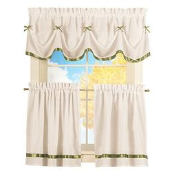 Collections Etc Dainty Bow Classic Curtain Tier Set Rod Pock