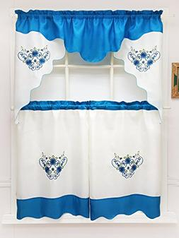GOHD - Daisy Dream. 3pcs Embroidery Double Valance Kitchen C