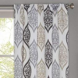 Better Homes and Gardens Damask Ogee Curtain Panel, Charcoal