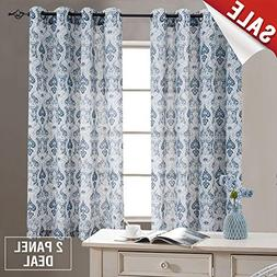 Damask Printed Curtains for Bedroom Drapes Vintage Linen Ble