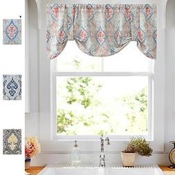 Damask Printed Tie-up Valances for Windows Multicolor Linen