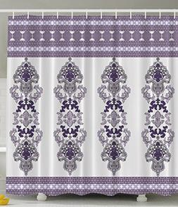 Damask Shower Curtain Violet Decor by Ambesonne, Classic Des
