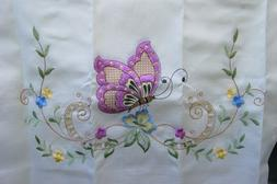 DANCING BUTTERFLY 3pcs multi-color embroidery kitchen curtai