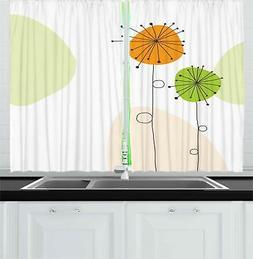"Dandelion Kitchen Curtains 2 Panel Set Window Drapes 55"" X 3"