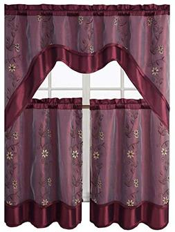 Victoria Classics Daphne Embroidered Kitchen Curtain Set Ass