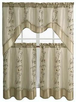 Daphne Embroidered Kitchen Curtain Set Assorted Colors Valan