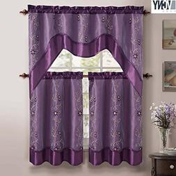 Daphne Embroidered Kitchen Curtain Set By Victoria Classics
