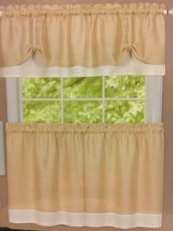 Achim Darcy Curtain Tier and Window Valance Set Tan/ White N