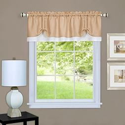 Darcy Curtain Valance, Tan/White