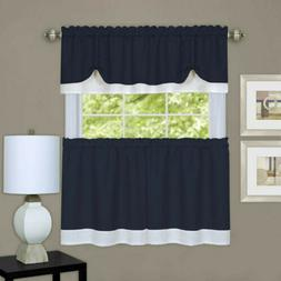 Darcy Tier and Valance Set, 24 H x 58 W, Navy/White