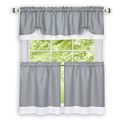 Collections Etc Darcy Two-Tone Rod Pocket Café Curtain Tier