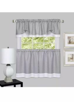 Darcy Window Curtain Tier and Valance Set 58x24/58x14 - Grey